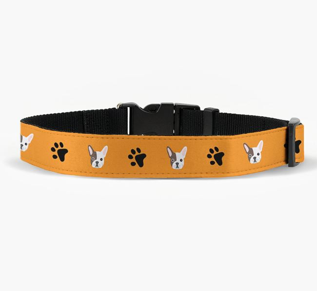 Fabric Collar with Paw Prints and French Bulldog Icon