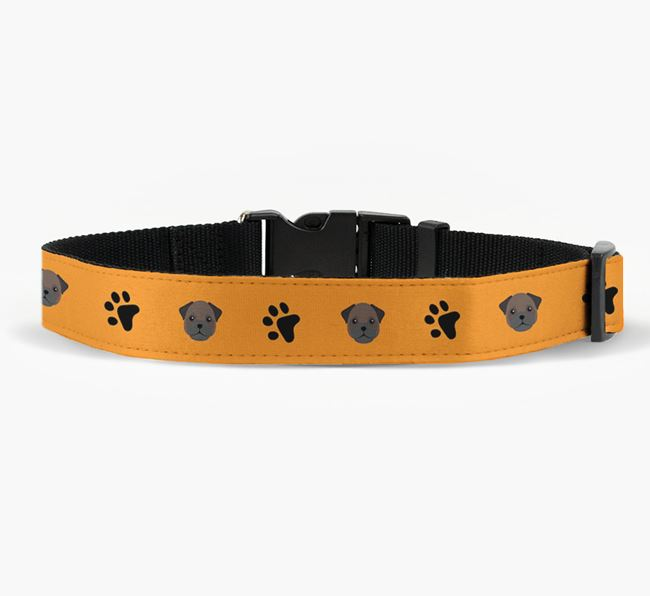 Fabric Collar with Paw Prints and Frug Icon