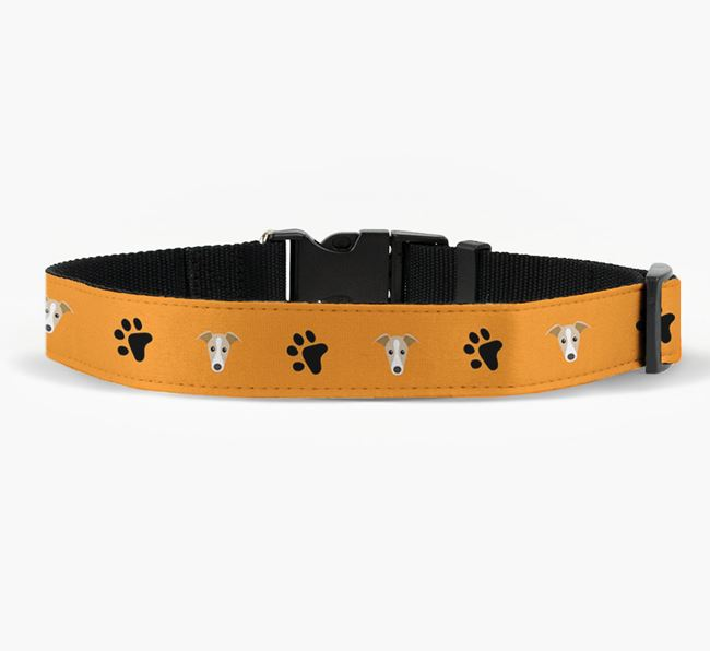 Fabric Collar with Paw Prints and Greyhound Icon