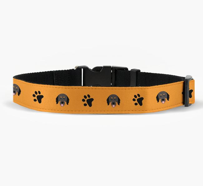 Fabric Collar with Paw Prints and Hovawart Icon