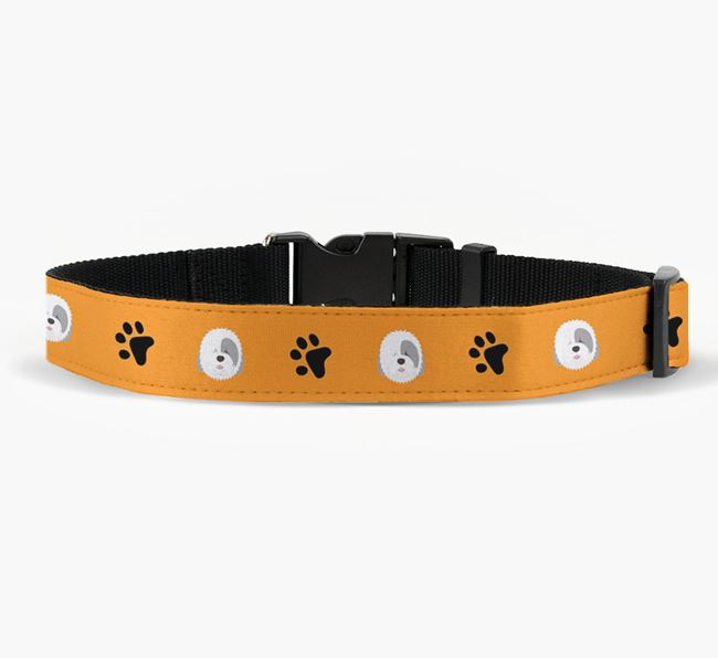 Fabric Collar with Paw Prints and Old English Sheepdog Icon
