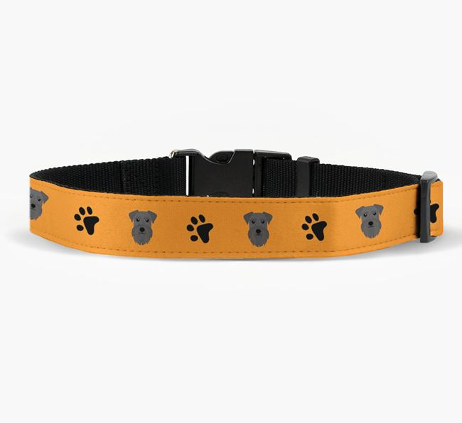 Fabric Collar with Paw Prints and Schnauzer Icon