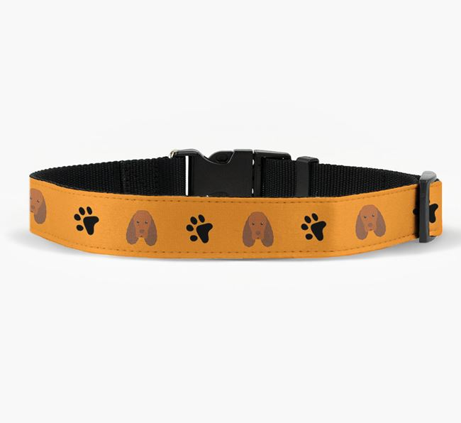 Fabric Collar with Paw Prints and Sussex Spaniel Icon
