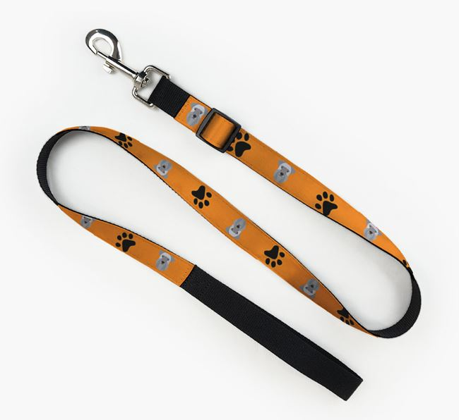 Fabric Lead with Paw Prints and Cesky Terrier Icon