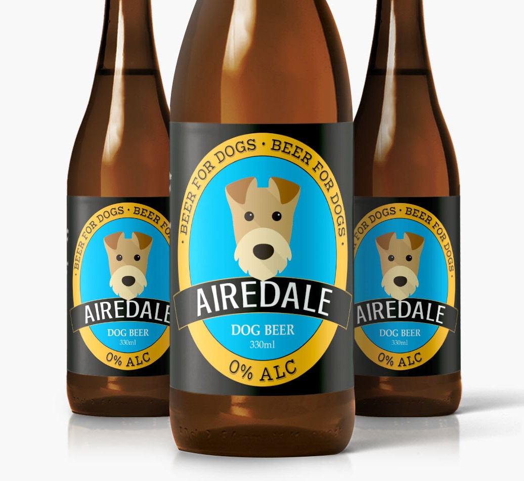 Shot of 3 Airedale Terrier Dog Beer