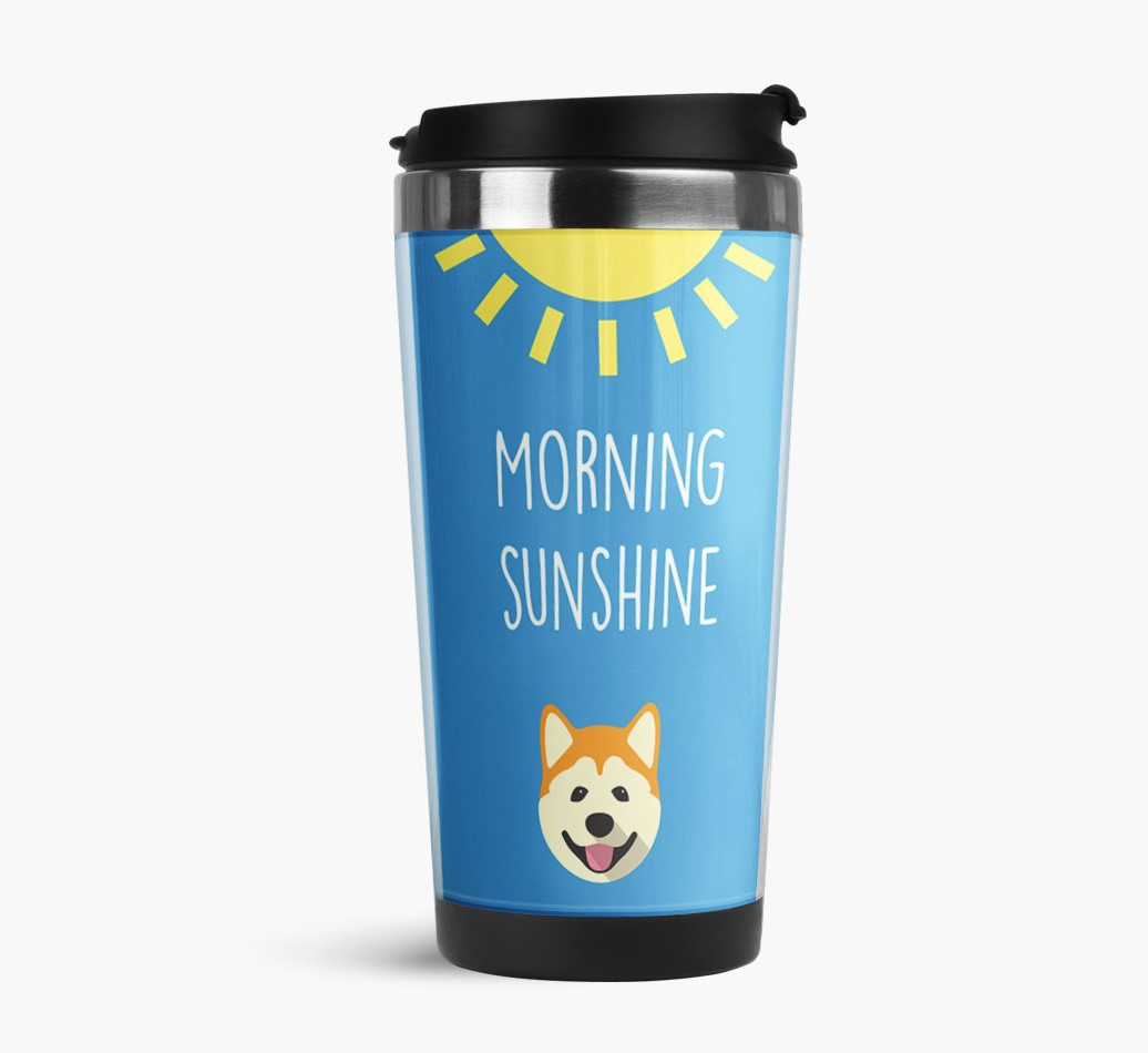 'Morning Sunshine' Travel Flask with Akita Icon Side View