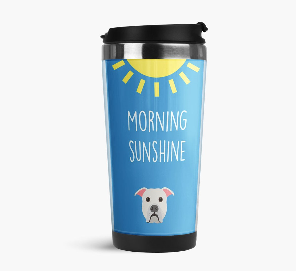 'Morning Sunshine' Travel Flask with American Bulldog Icon Side View