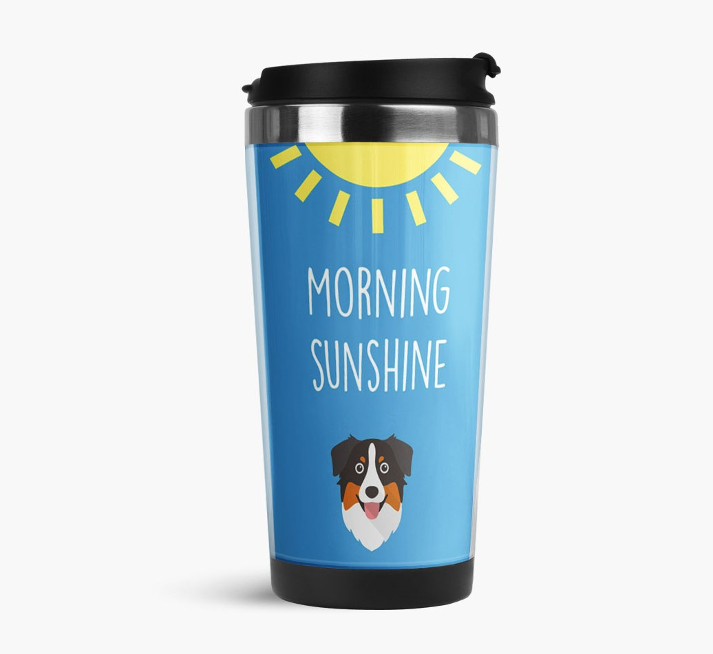'Morning Sunshine' Travel Flask with Australian Shepherd Icon Side View