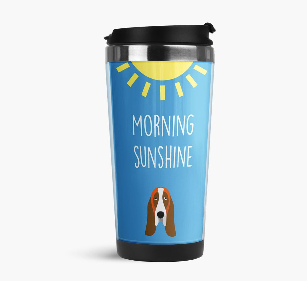 'Morning Sunshine' Travel Flask with Basset Hound Icon Side View