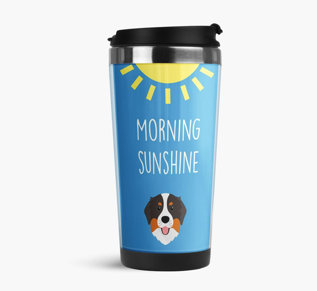 'Morning Sunshine' Travel Flask with Bernese Mountain Dog Icon Side View