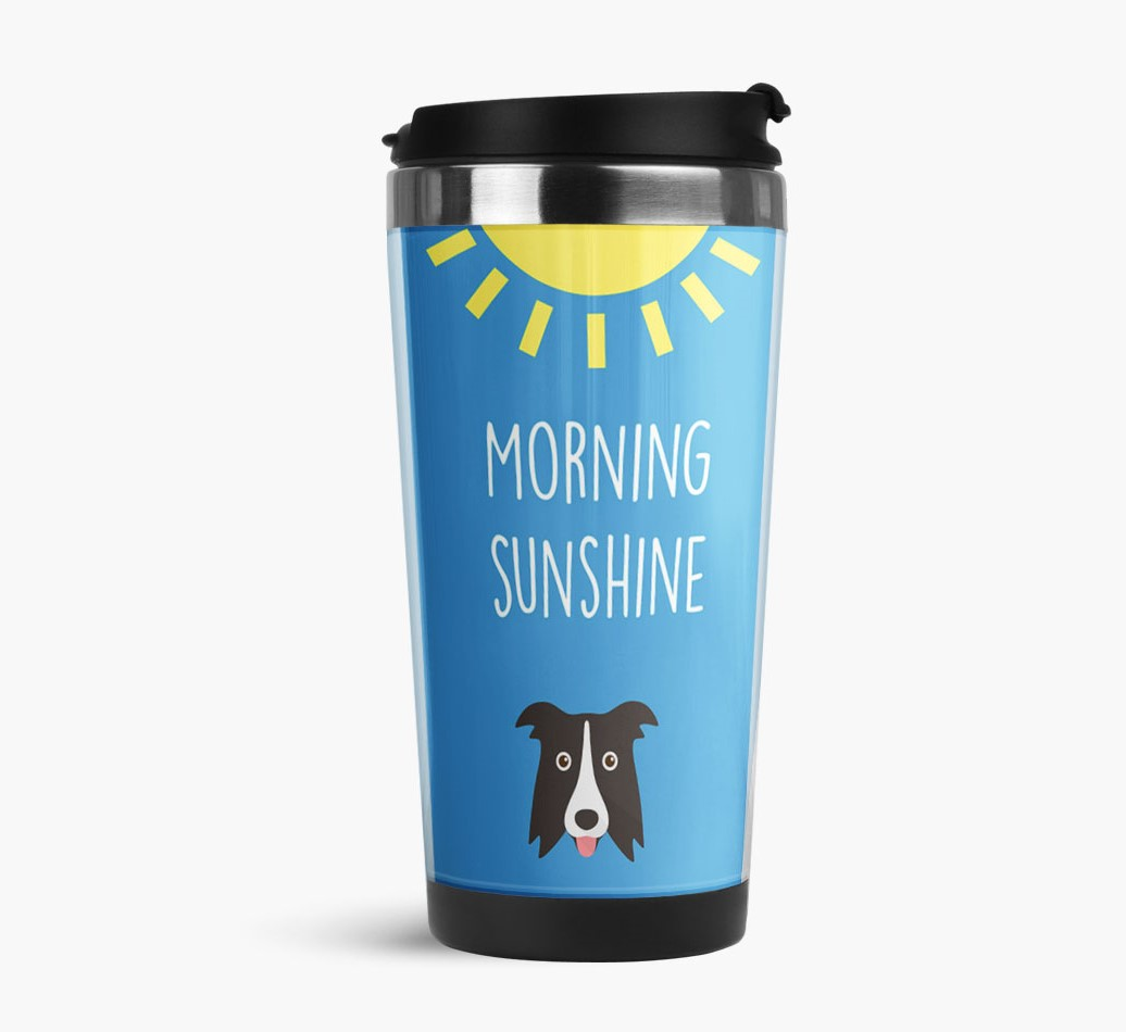 'Morning Sunshine' Travel Flask with Border Collie Icon Side View