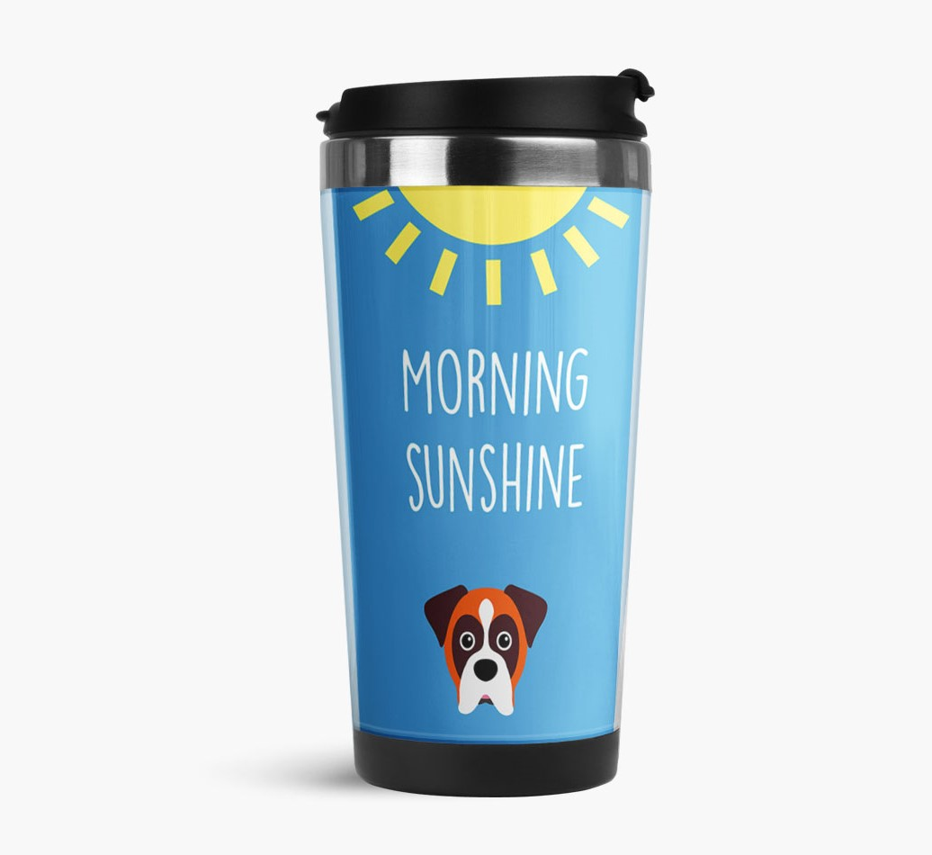 'Morning Sunshine' Travel Flask with Boxer Icon Side View
