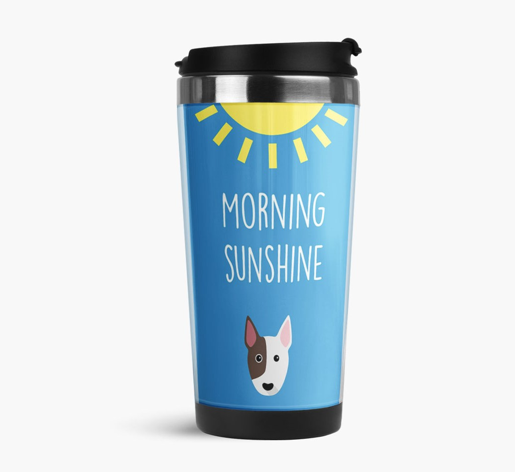 'Morning Sunshine' Travel Flask with Bull Terrier Icon Side View