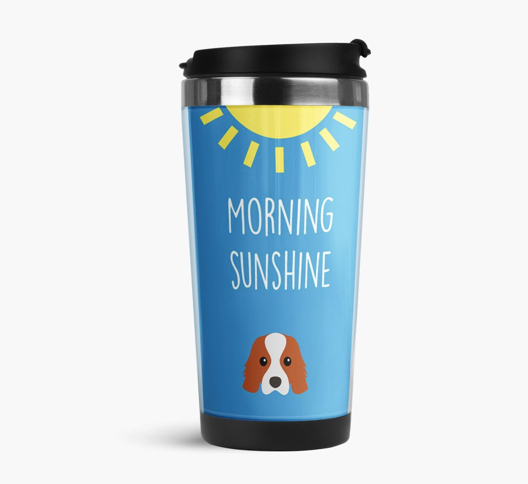 'Morning Sunshine' Travel Flask with Cavalier King Charles Spaniel Icon Side View