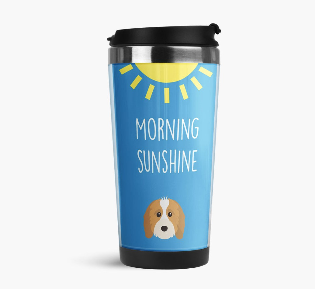 'Morning Sunshine' Travel Flask with Cavapoo Icon Side View