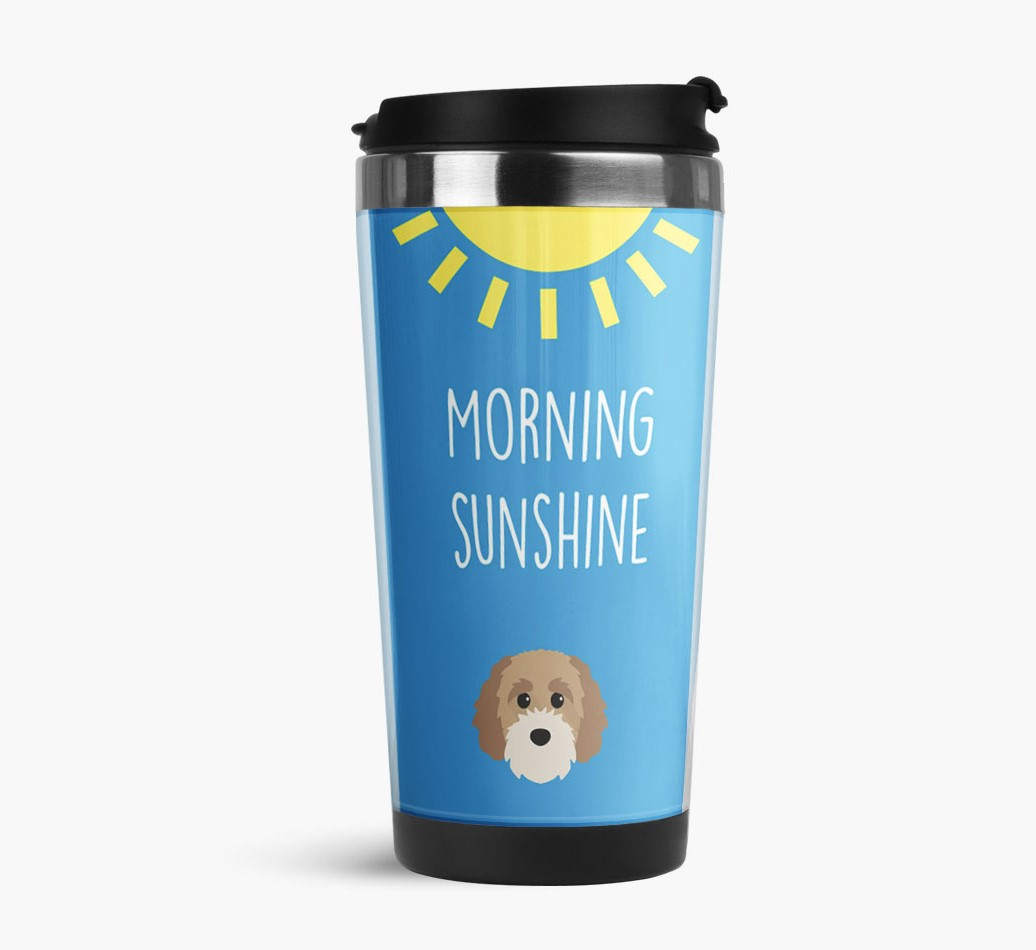 'Morning Sunshine' Travel Flask with Cavapoochon Icon Side View