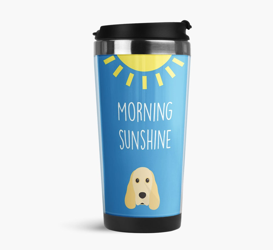 'Morning Sunshine' Travel Flask with Cocker Spaniel Icon Side View