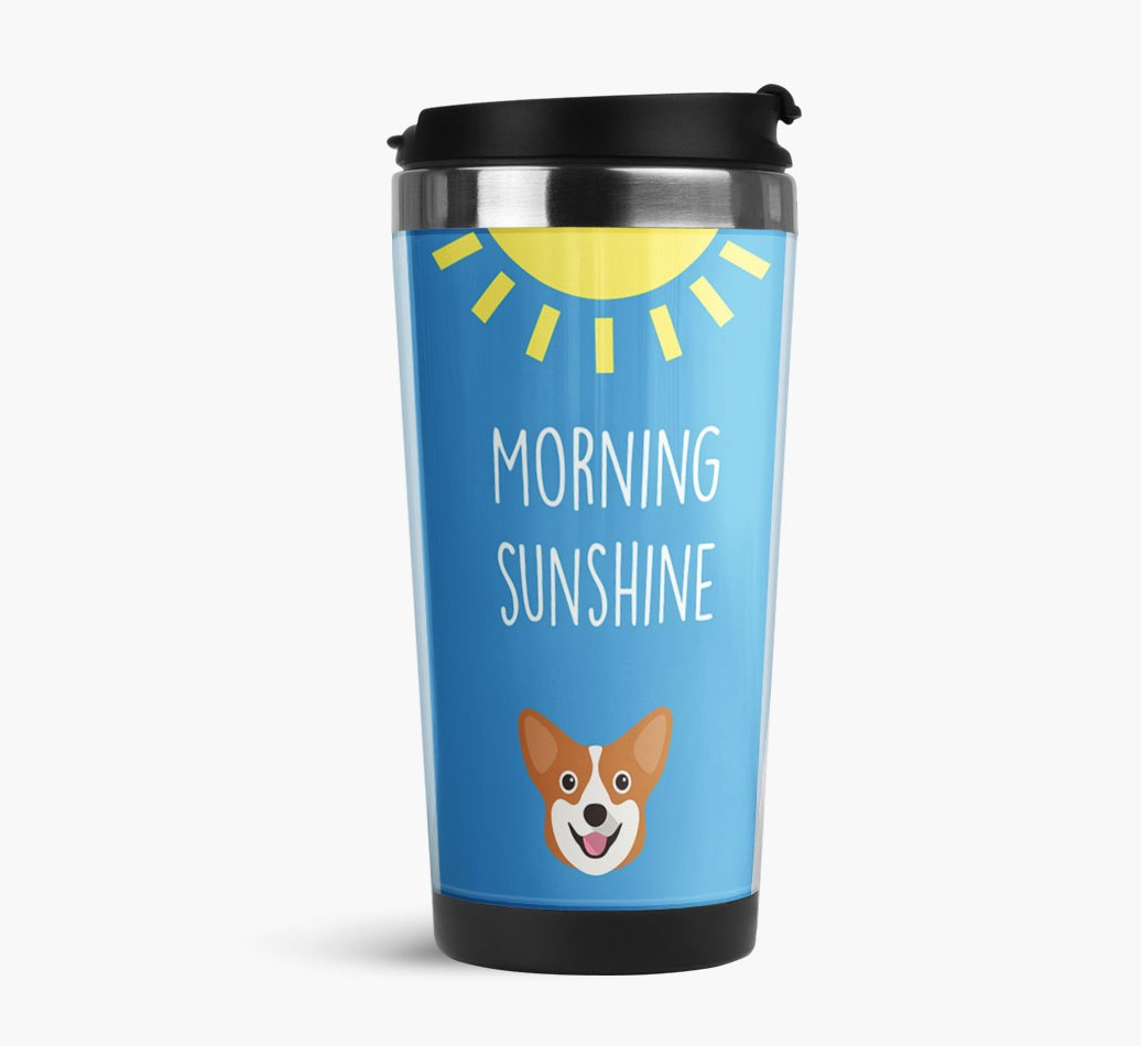 'Morning Sunshine' Travel Flask with Corgi Icon Side View