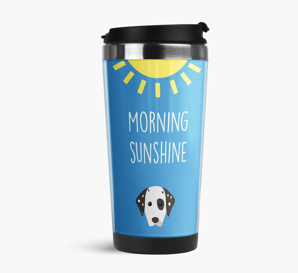 'Morning Sunshine' Travel Flask with Dalmatian Icon Side View