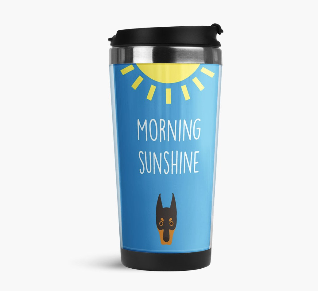 'Morning Sunshine' Travel Flask with Dobermann Icon Side View