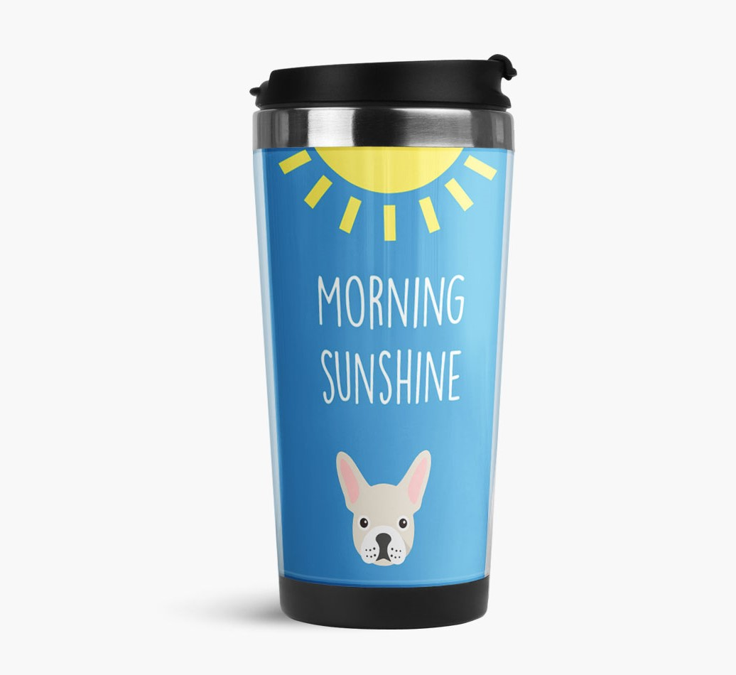 'Morning Sunshine' Travel Flask with French Bulldog Icon Side View