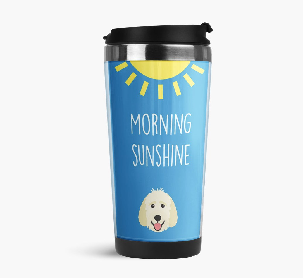 'Morning Sunshine' Travel Flask with Goldendoodle Icon Side View