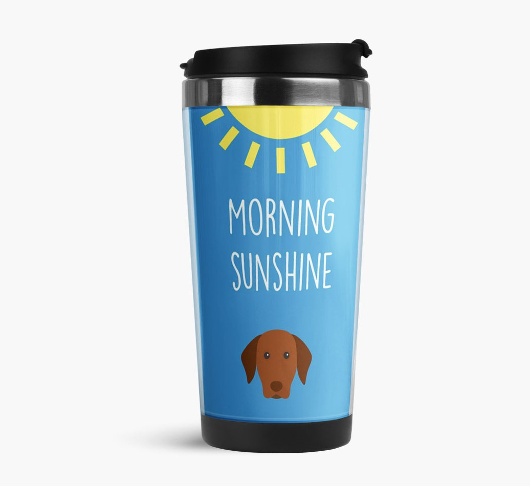 'Morning Sunshine' Travel Flask with Hungarian Vizsla Icon Side View