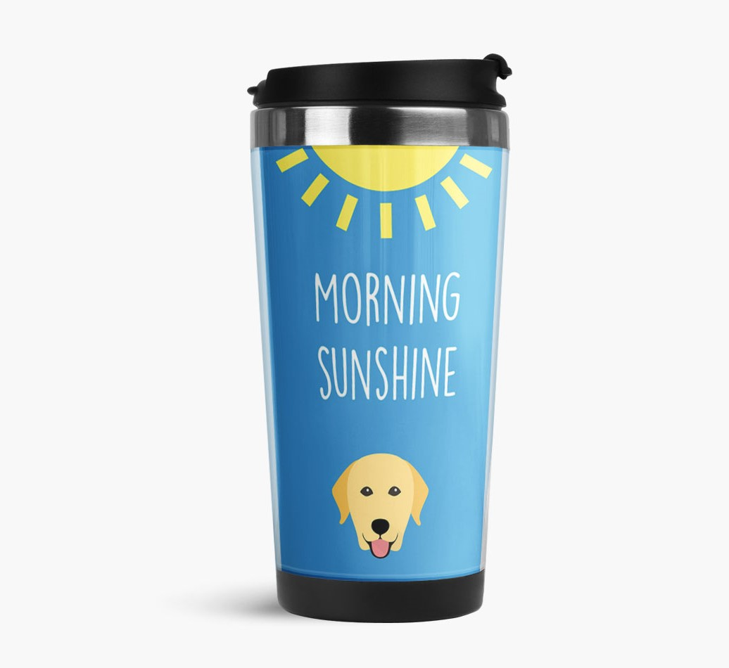 'Morning Sunshine' Travel Flask with Labrador Retriever Icon Side View