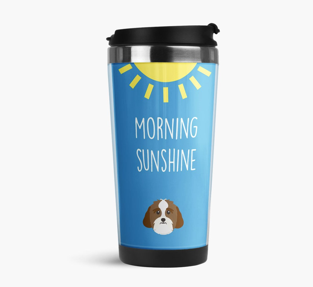 'Morning Sunshine' Travel Flask with Lhasa Apso Icon Side View