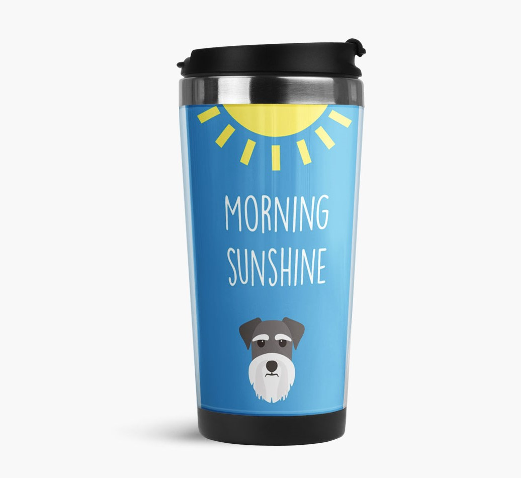 'Morning Sunshine' Travel Flask with Miniature Schnauzer Icon Side View