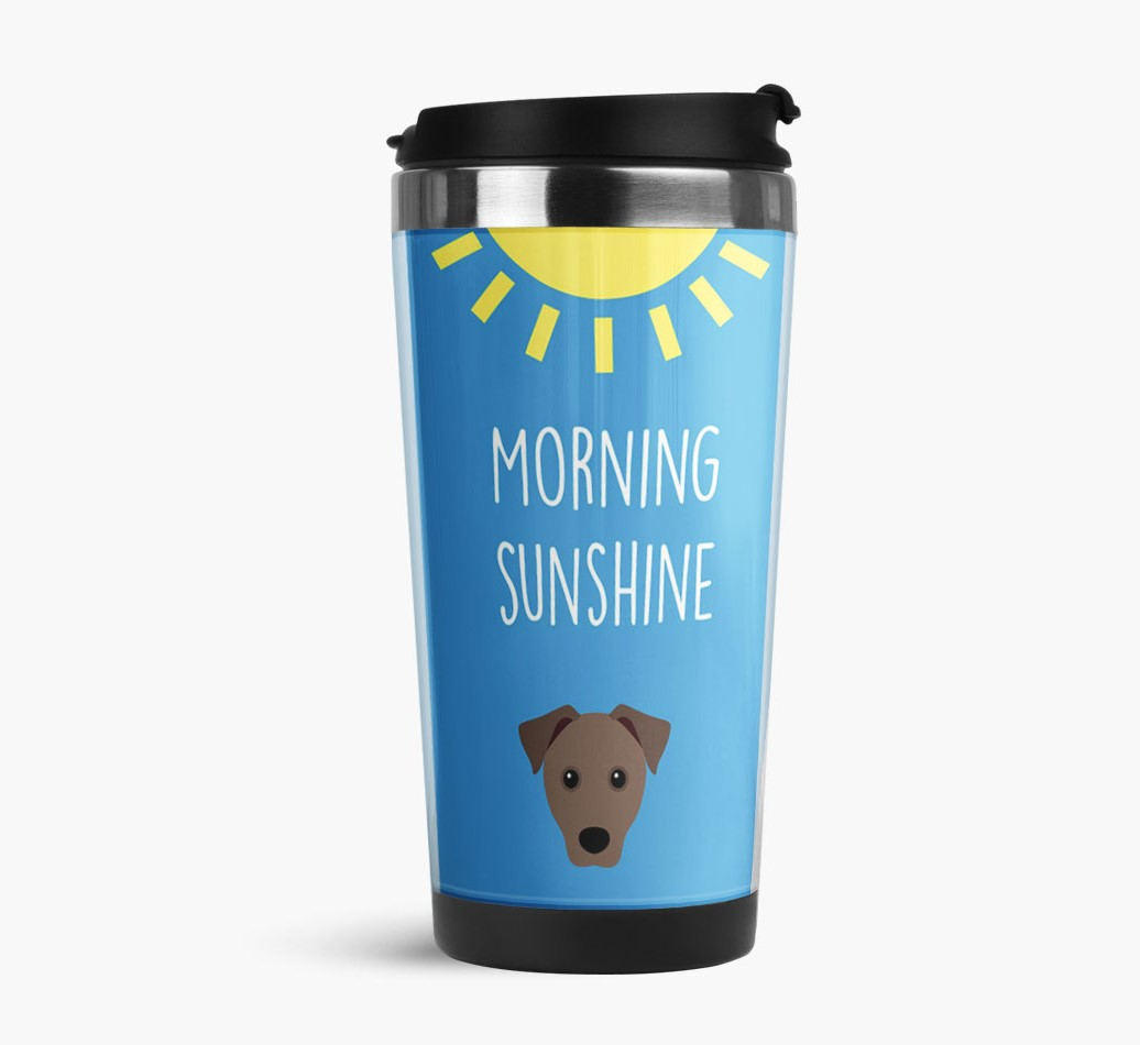 'Morning Sunshine' Travel Flask with Mixed Breed Icon Side View