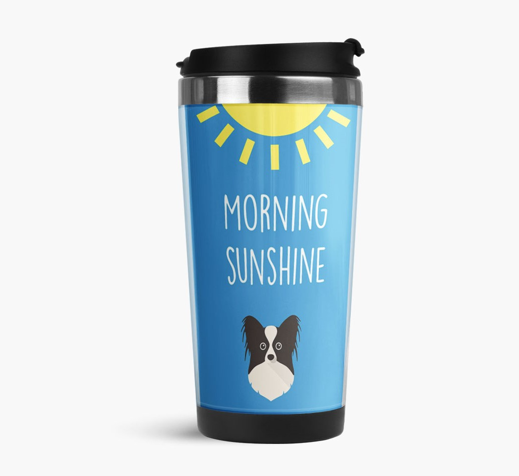'Morning Sunshine' Travel Flask with Papillon Icon Side View