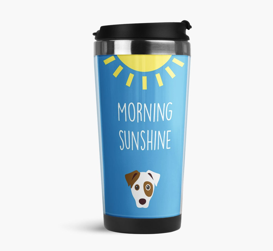 'Morning Sunshine' Travel Flask with Parson Russell Terrier Icon Side View