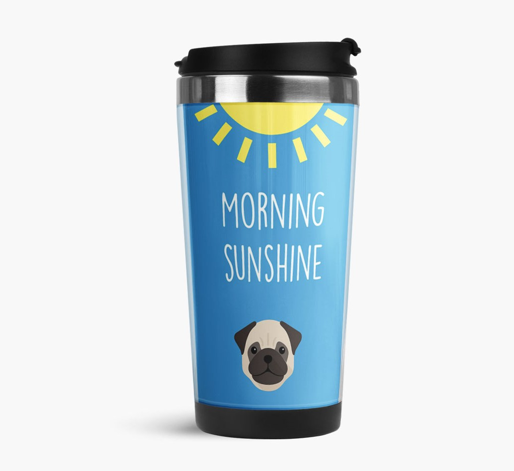 'Morning Sunshine' Travel Flask with Pug Icon Side View