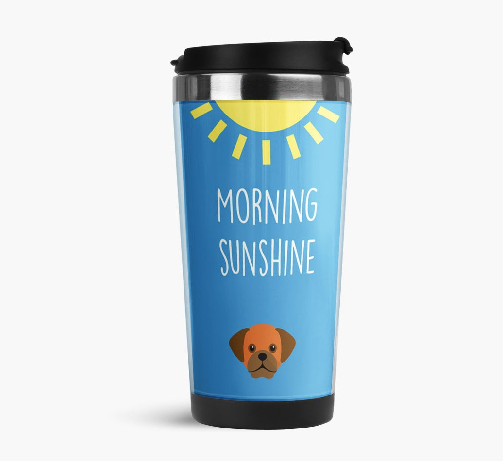 'Morning Sunshine' Travel Flask with Puggle Icon Side View