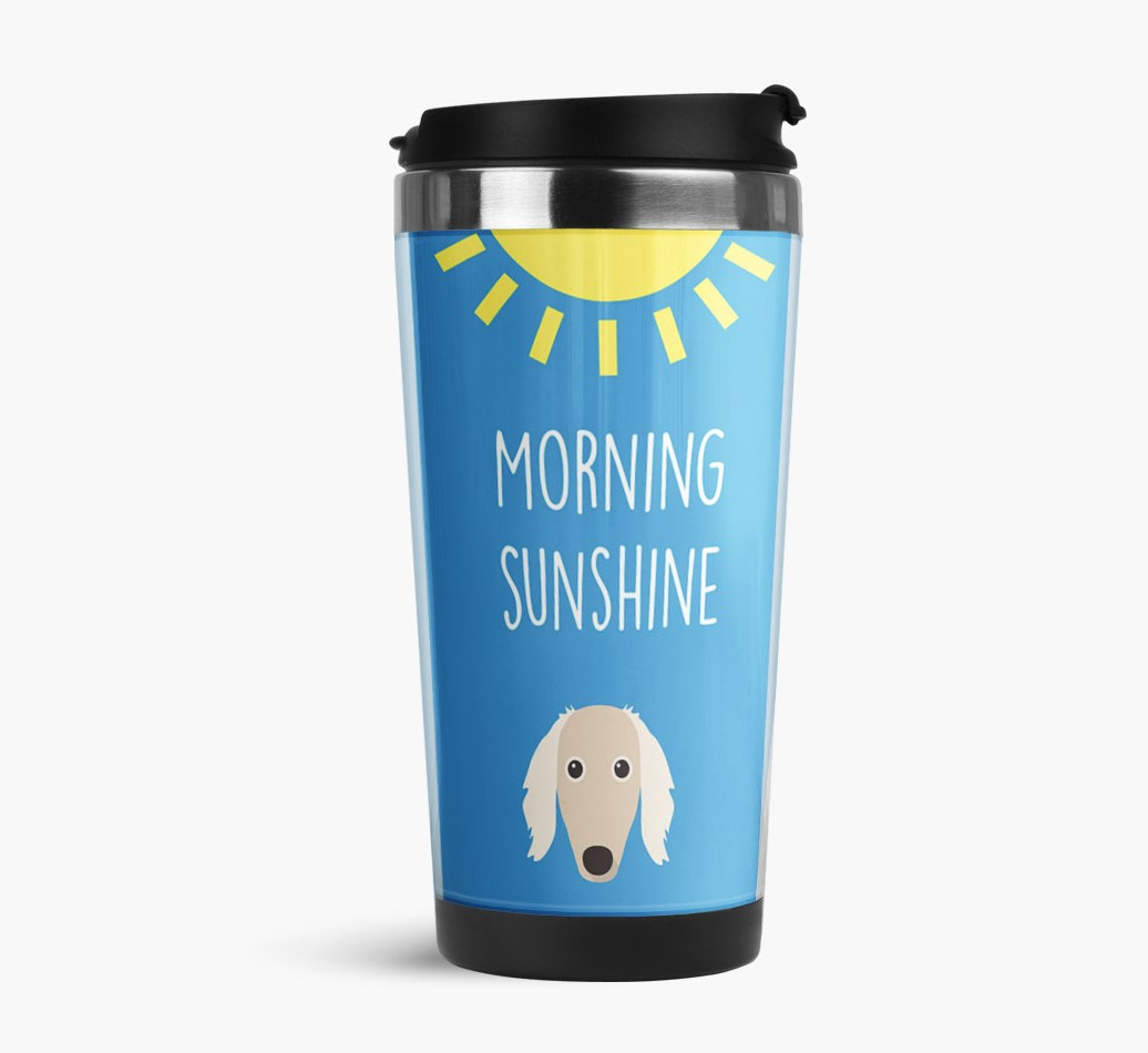 'Morning Sunshine' Travel Flask with Saluki Icon Side View