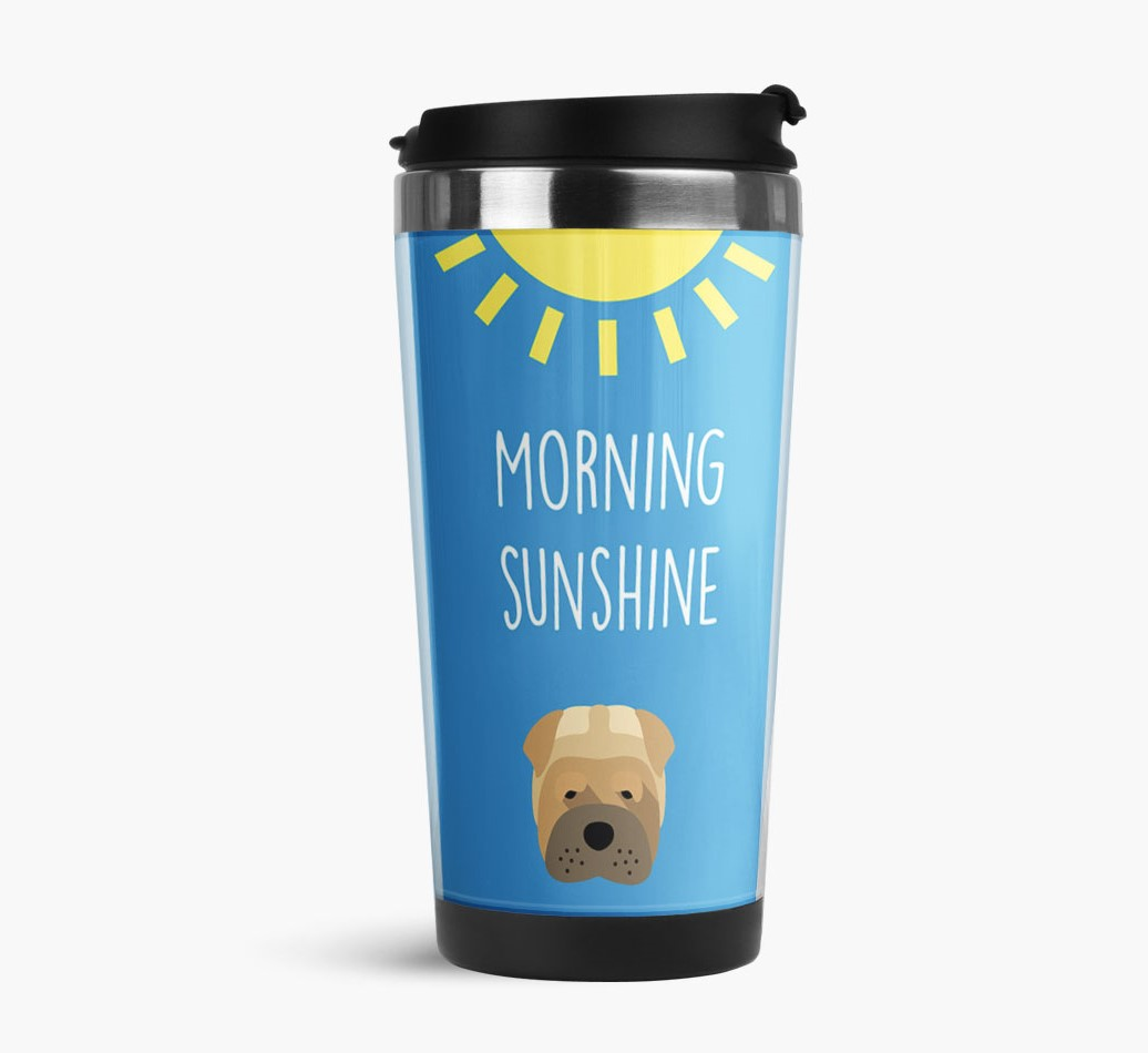'Morning Sunshine' Travel Flask with Shar Pei Icon Side View