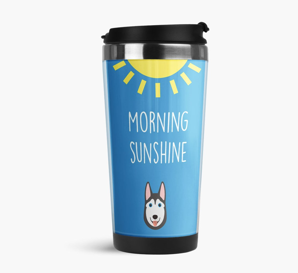 'Morning Sunshine' Travel Flask with Siberian Husky Icon Side View