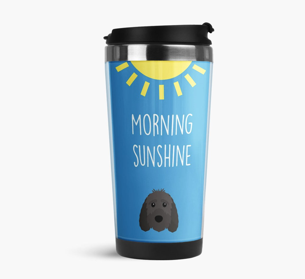 'Morning Sunshine' Travel Flask with Sproodle Icon Side View
