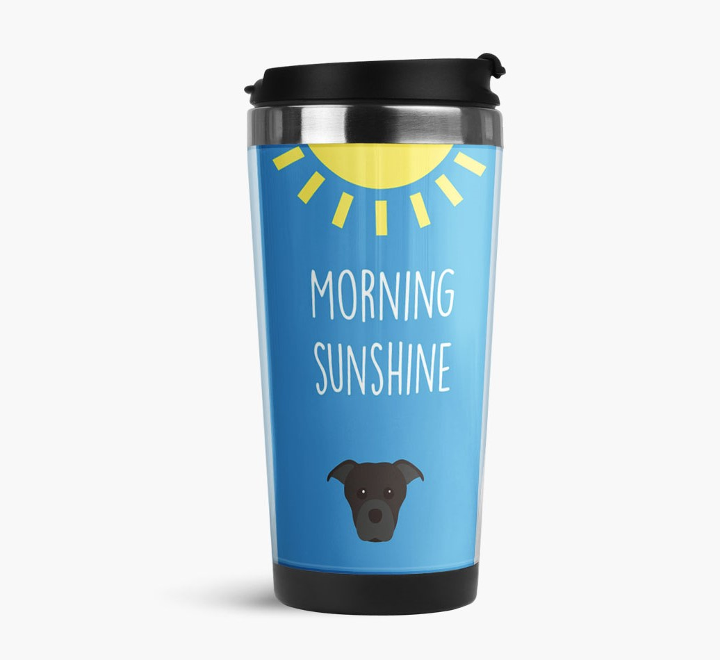 'Morning Sunshine' Travel Flask with Staffordshire Bull Terrier Icon Side View