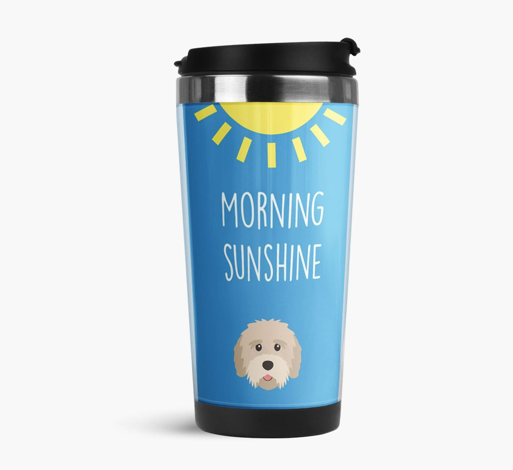 'Morning Sunshine' Travel Flask with Tibetan Terrier Icon Side View
