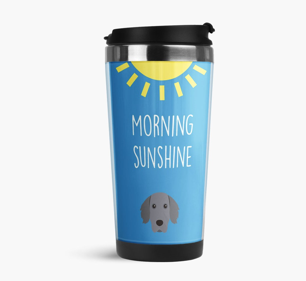 'Morning Sunshine' Travel Flask with Weimaraner Icon Side View