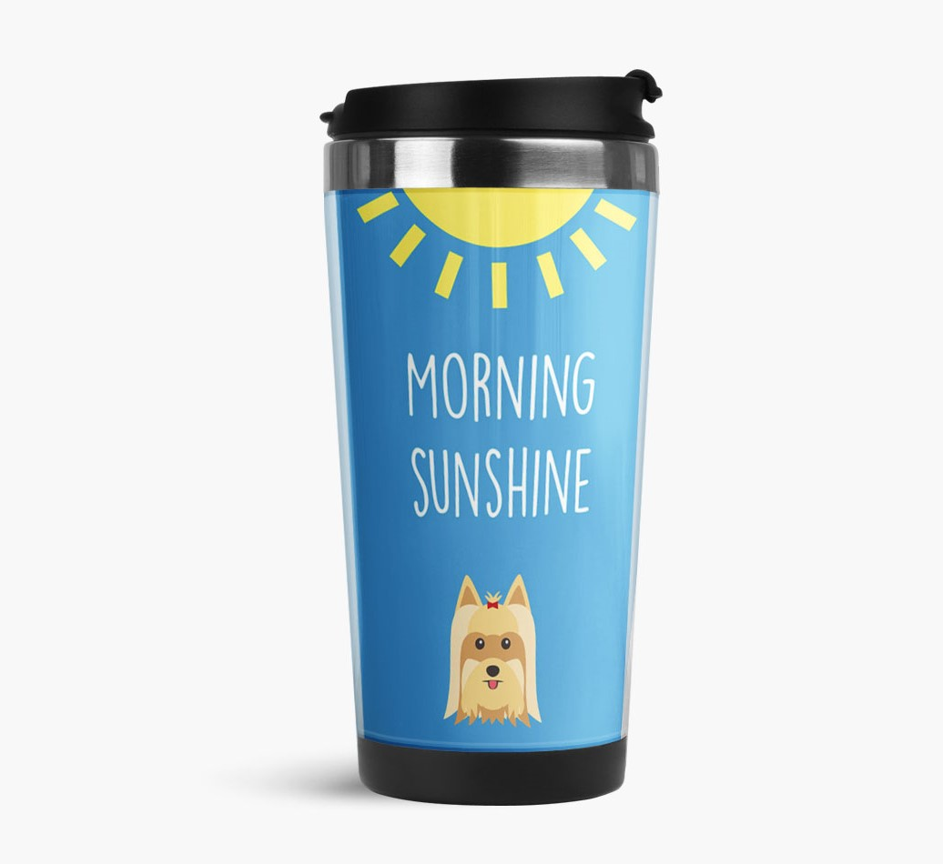 'Morning Sunshine' Travel Flask with Yorkshire Terrier Icon Side View