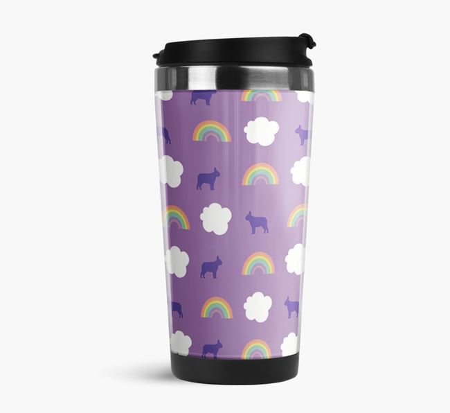 Rainbow Travel Flask with French Bulldog Silhouette