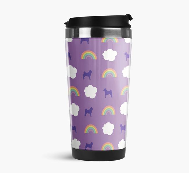 Rainbow Travel Flask with Pugapoo Silhouette