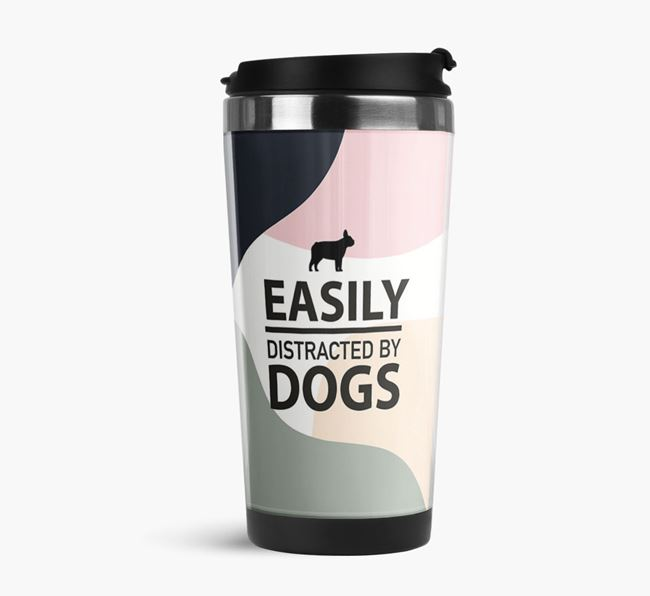 'Easily Distracted' Travel Flask with French Bulldog Silhouette