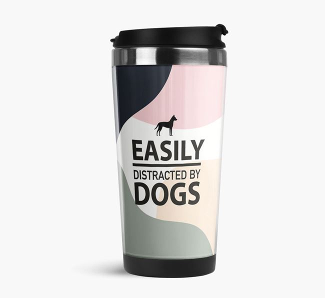 'Easily Distracted' Travel Flask with Dog Silhouette
