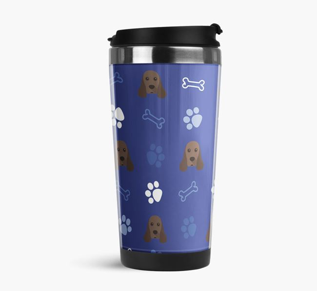 Travel Flask with American Cocker Spaniel Icon Pattern
