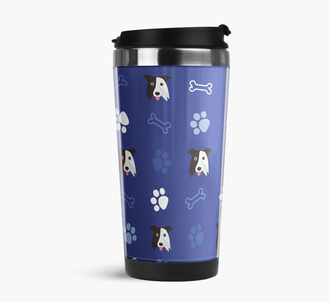 Travel Flask with Border Collie Icon Pattern