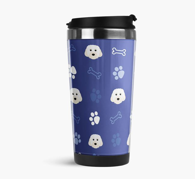 Travel Flask with Cavachon Icon Pattern